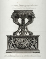 Fig. 4b. Piranesi, antique marble Altar in the form of a tripod from Hadrian's Villa in the collection of Piranesi from Vasi, candelabri,... (1778), etching, 52.5 x 38.5 cm.