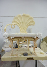 Fig. 6a. Swan-neck chair (2010), under construction, the final material will be artificial wood, gesso and gold gilt, 115 x 85 x 73cm.