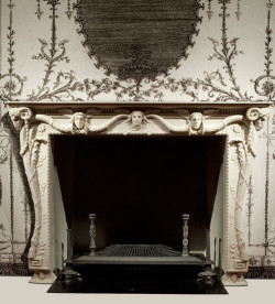 Fig. 3a. Chimneypiece and Fire Grate (2010), after Piranesi, white marble scagliola and iron, 150 cm x 214 cm.