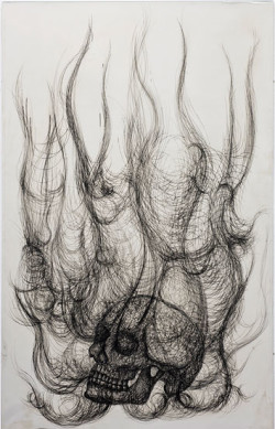 Fig. 8. Paolo Canevari, Burning Skull (2008), from the Decalogo series, etched copper and dry-point, nickel-plated, 138 x 88 x 2 cm. Courtesy of the artist and Gallery Christian Stein, Milan.