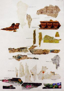 Fig. 3. 23 fragments showing seven layers of wallpaper from Château Prangins. Swiss National Museum.