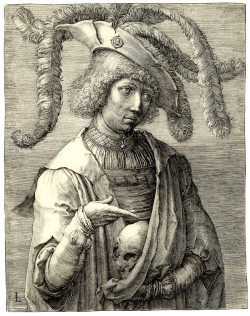 Fig. 1. Lucas van Leyden, Portrait of a Young Man with a Skull (c. 1519), engraving on ivory laid paper, 18.3 x 14.4 cm. The Art Institute of Chicago, Clarence Buckingham Collection, 1940.1314.