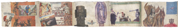 Fig. 1a. Enrique Chagoya, left panels of Tales from the Conquest/Codex (1992), color xerox transfer, lacquer, acrylic, and ink on amate paper, 31.75 cm x 300.36 cm x 10.16 cm. San Francisco Museum of Modern Art, Accessions Committee Fund: gift of Susan and Robert Green, Christine and Pierre Lamond, Madeleine H. Russell, and Judy C. Webb. ©Enrique Chagoya.