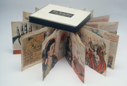 Fig. 3a. Enrique Chagoya, Guillermo Gómez-Peña, and Felicia Rice, Codex Espangliensis: From Columbus to the Border Patrol (1998), artist's book, letterpress in black and red on amate paper, accordion folded and encased in portfolio box, 9 inches x 31 feet (extended). Edition of 50, includ- ing five deluxe hand-painted editions in roman numerals (pictured). Moving Parts Press, Santa Cruz, California. Image courtesy Moving Parts Press, Santa Cruz, CA.