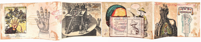Fig. 4a. Enrique Chagoya, right panels El Recgreso del Caníbal Macrobiótico (The Return of the Macrobiotic Cannibal) (1998), accordion-folded artist's book, sixteen-color lithograph and woodcut on amate paper and chine collé, 7 1/2 x 92 inches overall. Edition of 30. Published and printed by Shark's Ink, Lyons, CO, ©Enrique Chagoya 1998. Photo: Bud Shark.