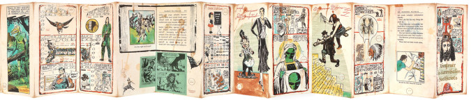 "Fig. 5a. Enrique Chagoya, right panels of Abenteuer der Kannibalen Bioethicists (Adventures of the Bioethicist Cannibals) (2001), accordion-folded artist's book, nine-color lithograph and woodcut with applied ""wiggle eyes"" on amate paper on various chines collé, 7 1/2 x 92 inches overall. Edition of 30. Published and printed by Shark's Ink, Lyons, CO. ©Enrique Chagoya 2001. Photo: Bud Shark."