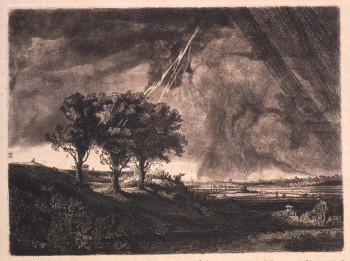Fig. 1. William Baillie, The Three Trees (c. 1800), after Rembrandt, etching, engraving and mezzotint on paper, image 20.8 x 28 cm, sheet 32 x 39.1 cm. Sterling and Francine Clark Art Institute, Williamstown, Massachusetts. Gift of James A. Bergquist in memory of Charles C. Cunningham.
