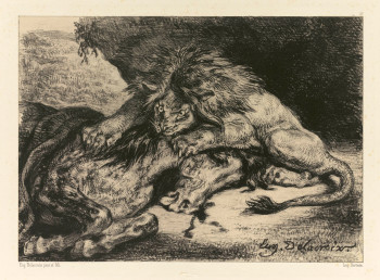 Fig. 3. Eugène Delacroix, Lion Devouring a Horse (1844), lithograph on chine collé on paper. Sterling and Francine Clark Art Institute, Williamstown, Massachusetts.