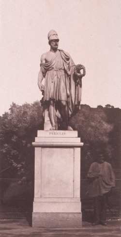 Fig. 4. Édouard Baldus, Statue of Pericles with Standing Figure in the Tuileries (c. 1856), salt print from a wet-collodion-on-glass negative on paper. Collection of the Troob Family Foundation.