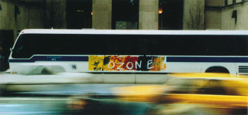 Fig. 5. Robert Rauschenberg, Ozone (1991), screenprint on vinyl (bus sign), 29 3/4 x 104 1/2 inches, from Thinking Print: Books to Billboards, 1980-95.