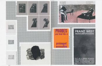 Fig. 9. Page spread from Print/Out, reproducing work by Thomas Schütte, Kara Walker, Kelley Walker, Daniel Joseph Martinez and Franz West.