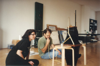 Fig. 2. Marina Abramović and Jacob Samuel preparing plates in her Amsterdam studio in 1996.