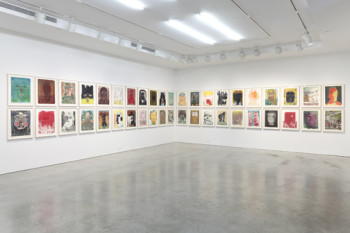 "Installation view of ""Nicole Eisenman: Woodcuts, Etchings, Lithographs and Monotypes"" at Leo Koenig Inc., 2012. Image courtesy Leo Koenig Inc., New York."