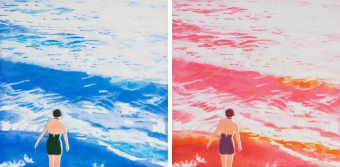 Isca Greenfield-Sanders, Wader I (Pink), Wader I (Blue) (2012), photogravure and aquatint.