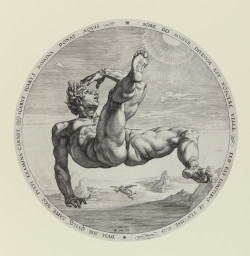 Hendrik Goltzius, Icarus (1588), engraving, after Cornelis Cornelisz. van Haarlem, plate 33.2 cm in diameter (sheet trimmed irregularly on platemark). Given by the Friends of the Fitzwilliam Museum 1990, ©The Fitzwilliam Museum, Cambridge.