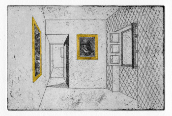 Alexander Massouras, One day, Paul gilded all the picture frames in his house (2011), hard ground etching with gold leaf, plate 10 x 15 cm, sheet 19 x 27.5 cm. Edition of 60. Printed by the artist at the London Print Studio, published by Julian Page Fine Art, London. Photo: Alexander Massouras, courtesy of Julian Page Fine Art.