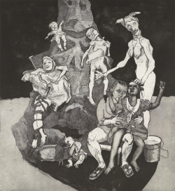 Paula Rego, Stitched and Bound (2009), etching, 119.5 x 108 cm. Edition of 35. Printed by Paupers Press, published by the artist & Marlborough Fine Art.