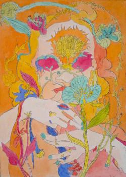 Mit Senoj, Beta Maritima (2012), etching hand-colored with watercolor.