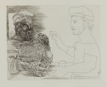 Pablo Picasso, Two Catalan Drinkers (29 November 1934), plate 12 of The Vollard Suite (VS 12), etching, 23.7 x 29.7 cm. ©Succession Picasso/DACS 2011.
