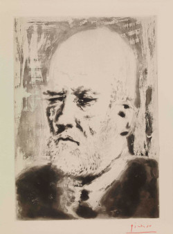 Pablo Picasso, Portrait of Vollard II (4 March 1937), plate 98 of The Vollard Suite, aquatint, 34.5 x 24.5 cm. Presented by the Hamish Parker Charitable Trust in memory of Major Horace Parker. ©Succession Picasso/DACS 2011.