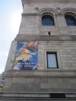 reThink INK Banner on Boston Public Library (2012). Banner design by Flanders+ Associates, Boston, MA. Photo: Heddi Vaughan Siebel.