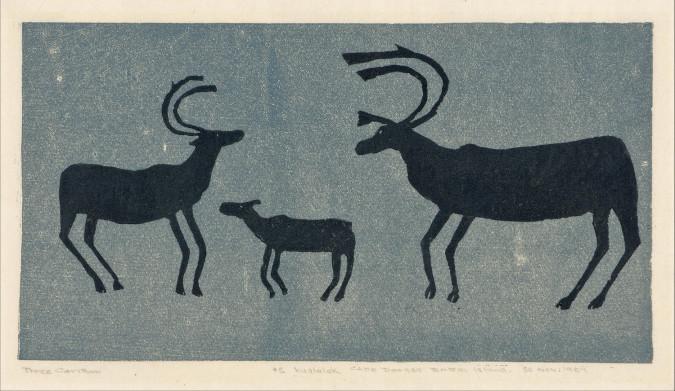 Niviasi [Niviaksiak], Three Caribou (1957), stonecut, 23 x 36.5 cm. Printed by Kananginak Pootoogook, Cape Dorset, Canada.