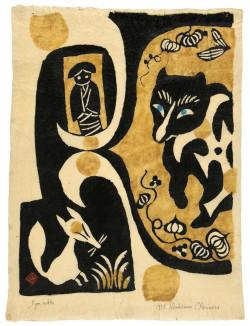 Kichemon Okamura, Iyon Nokka (1958), kappazuri stencil, 58.7 x 44 cm. Printed by the artist, Japan.