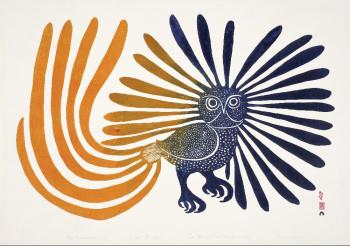 Kenojuak Ashevak, The Enchanted Owl (1960), stonecut, 30.4 x 60.8 cm. Stonecut by Iyola Kingwatsiak, printed by Eegyvudluk Pootoogook, Cape Dorset, Canada.