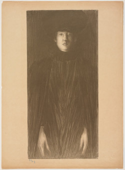 Norbert Goeneutte, Femme vue de face (1894), lithograph printed in brown ink, image 53.18 x 25.24 cm, sheet 60.01 x 43.5 cm. Collection Minneapolis Institute of Arts. Gift of C.G. Boerner, 2011.58.2.