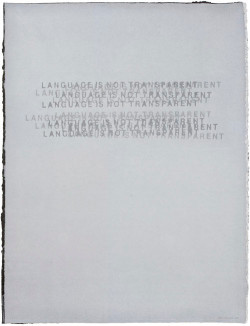 Mel Bochner, Language is Not Transparent (1999), watermarked translucent abaca on black cotton, 40 x 30 inches. Edition of 16. Published by Dieu Donné, New York. Photo courtesy Dieu Donné, New York.