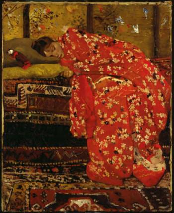 George Hendrik Breitner, Girl in Red Kimono (Geesje Kwak) (1893-1895), oil on canvas, 51,5 x 76 cm. Stedelijk Museum, Amsterdam.
