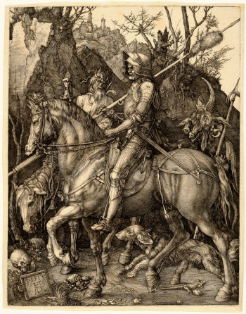 Albrecht Dürer, Knight, Death, and the Devil (1513), engraving. The Metropolitan Museum of Art, Harris Brisbane Dick Fund, 1943 (43.106.2). Image ©The Metropolitan Museum of Art.