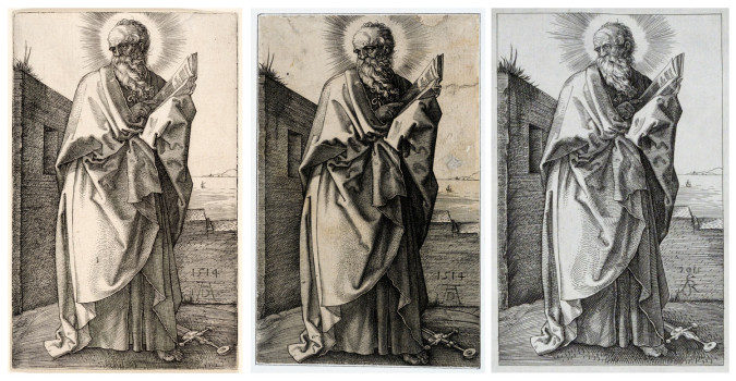 Left: Albrecht Dürer, full image and detail of St. Paul (1514), engraving. The Metropolitan Museum of Art, Fletcher Fund, 1919 (19.73.58). Image ©The Metropolitan Museum of Art. Anne S.K. Brown Military Collection, Brown University Library. Middle: Jan (Johannes) Wierix, after Albrecht Dürer, full image and detail of St. Paul (copy) (n.d.), engraving. The Metropolitan Museum of Art Purchase, Dick Fund, 1917 (17.3.3145). Image ©The Metropolitan Museum of Art. Right: Andrew Raftery, after Albrecht Dürer, full image and detail of St. Paul (copy) (2012), engraving.