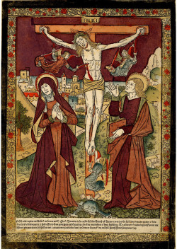 Jean d'Ypres, Crucifixion (Paris, late 15th century), woodcut, hand-colored with stencils. British Museum, London, Inv. 1902,0212.3.