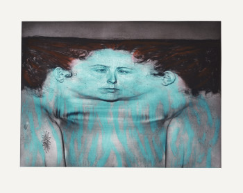 Kiki Smith, My Blue Lake (1995), photogravure and lithograph in 3 colors, 43 1/2 x 54 3/4 inches. Edition of 41. Printed by Craig Zammiello, John Lund, Jihong Shi, Douglas Volle and Bruce Wankel, published by Universal Limited Art Editions. ©Kiki Smith/ ULAE, 1995.