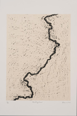 Zarina, Dividing Line (2001), woodcut printed in black on Indian handmade paper mounted on Arches Cover white paper, image 40.6 x 33 cm, sheet 65.4 x 50.2 cm. Edition of 20. UCLA Grunwald Center for the Graphic Arts, Hammer Museum.