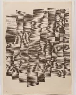Zarina, Untitled (1970), relief print from collaged wood, printed in burnt umber on Indian handmade paper, 76.2 x 55.9 cm. Edition of 10. UCLA Grunwald Center for the Graphic Arts, Hammer Museum. Purchased with funds provided by the Helga K. and Walter Oppenheimer Acquisition Fund. Photo: Robert Wedemeyer.