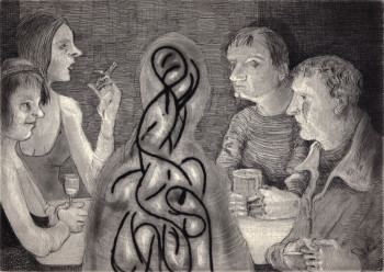 Nicole Eisenman, Drinks with Possible Spirit Type Entity (2012), etching and aquatint with chine collé, 10 1/4 x 11 3/4 in. Edition of 25. Printed and published by Harlan & Weaver, New York.