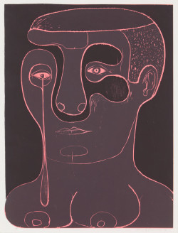 Nicole Eisenman, Untitled (Crier) (2012), woodcut, image 61.6 x 46.4 cm, sheet 61.6 x 47.6 cm. Edition of 15. Published by 10 Grand Press, New York. Courtesy the artist and Leo Koenig Inc., New York.