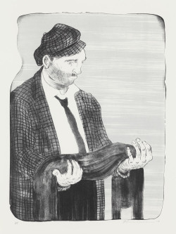 Nicole Eisenman, Man Holding his Shadow (2011), two-color lithograph, image 40.6 × 30.5 cm, sheet 56.5 × 45.7 cm. Edition of 25. Published by Jungle Press Editions, Brooklyn, NY. Courtesy the artist and Leo Koenig Inc., New York, NY.