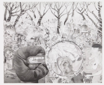 Nicole Eisenman, Beer Garden with Big Hand (2012), etching, image 101.6 x 121.9 cm. Edition size to be determined. Printed and published by Harlan & Weaver, Inc., New York, NY. Courtesy Leo Koenig Inc., New York, NY.
