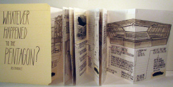 Deb Sokolow, Whatever happened to the Pentagon (restaurant)? (2007), photocopied, hand-colored, accordion-folded paper, bound in manila file folder, approx. 11 1/2 × 9 1/2 inches (closed). Edition of 100. Published by the artist.