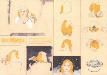 Aidan Koch, pages 8 and 9 from The Blonde Woman (2012), offset-printed softcover book, 9 × 6 1/2 inches. Edition of 500. Published by the artist.