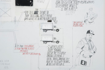 """Deb Sokolow, detail of You tell people you're working really hard on things these days (2010), graphite, charcoal, ink, and acrylic on paper, mounted on panel, 7 × 25 feet. Installed in the main lobby of the Museum of Contemporary Art, Chicago, as part of the 2010 exhibition """"Production Site: The Artist's Studio Inside-Out."""""""