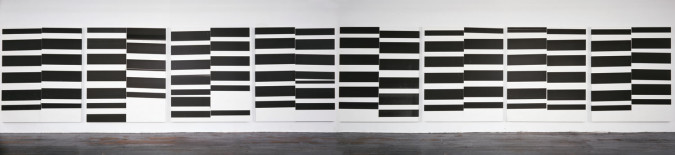 Wade Guyton, Untitled (2008), Epson Ultrachrome inkjet on linen, eight panels, 213.4 x 175.3 cm each, 213.4 x 1491 x 3.8 cm overall. Whitney Museum of American Art, New York, purchase, with funds from the Painting and Sculpture Committee, the Director's Discretionary Fund, Allison and Warren B. Kanders, Andrew and Christine Hall, Donna Rosen, Pamella DeVos, Melva Bucksbaum and Raymond J. Learsy, Ginevra Caltagirone, Miyoung Lee, and Gregory Miller. Photo: Lamay Photo.
