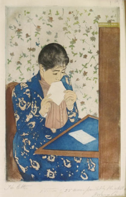 Mary Cassatt, The Letter, State iv (1891), color drypoint and aquatint, image 34.6 x 22.8 cm, sheet 43.6 x 30.3 cm. Samuel Putnam Avery Collection, Print Collection, The Miriam and Ira D. Wallach Division of Art, Prints and Photographs of the New York Public Library.
