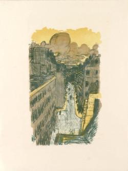 Pierre Bonnard, Rue Vue d'en Haut (1895-1899), from the set Quelques Aspects de la Vie de Paris, color lithograph on thin wove paper. Artist proof outside the edition of 100. Published by Ambroise Vollard. Courtesy C.G. Boerner LLC, New York.