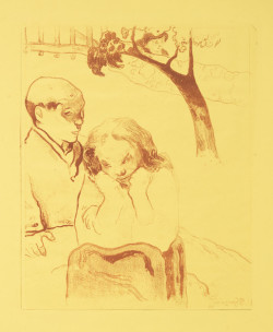 Paul Gauguin, Human Misery from the Volpini Suite (1889), zincograph printed in reddish-brown ink with borderlines in graphite on yellow wove paper, sheet 43.9 x 53.9 cm. ©Sterling and Francine Clark Art Institute, Williamstown, MA, 1962.61.