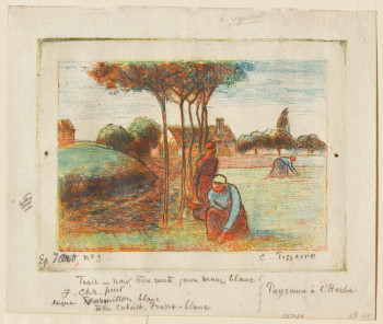 Camille Pissarro, Peasant Women Weeding the Grass (ca. 1894), etching printed in blue, red, yellow, and black on cream laid paper, image 12 x 16 cm, sheet: 16 x 19 cm. The Clark, 1962.91.
