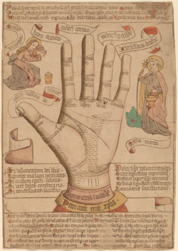 Fig. 3. The Hand as the Mirror of Salvation (1466, Germany), colored woodcut, 39.1 x 27 cm. National Gallery of Art, Washington, Rosenwald Collection 1943.3.639. Courtesy of the National Gallery of Art.